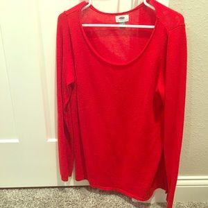 Red scoop neck sweater